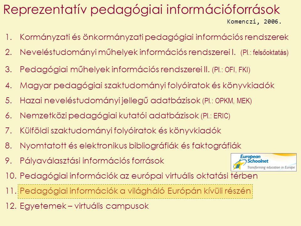 1.Kormányzati és önkormányzati pedagógiai információs rendszerek 2.Neveléstudományi műhelyek információs rendszerei I. (Pl.: felsőoktatás) 3.Pedagógia