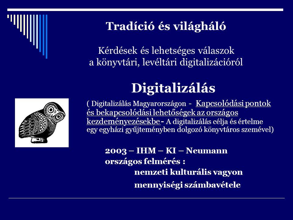Tradíció és világháló Kérdések és lehetséges válaszok a könyvtári, levéltári digitalizációról Digitalizálás ( Digitalizálás Magyarországon - Kapcsolódási pontok és bekapcsolódási lehetőségek az országos kezdeményezésekbe - A digitalizálás célja és értelme egy egyházi gyűjteményben dolgozó könyvtáros szemével) 2003 – IHM – KI – Neumann országos felmérés : nemzeti kulturális vagyon mennyiségi számbavétele