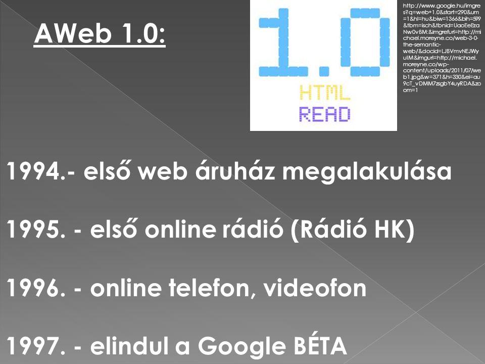 AWeb 2.0: - közösségre épülő szolgáltatások - blogok - wikik - az online játékok - online térképalkalmazások - videomegosztó portálok - virtuális osztálytermek - képmegosztó oldalak - online fogalomtérkép http://www.google.hu/imgres?q=web+2.0&um=1&hl=hu&sa=N&biw=1366&bih=599&tbm=isch&tbnid=H S2-xqfapu6j3M:&imgrefurl=http://hu.wikipedia.org/wiki/Web_2.0&docid=5mc7PB8- 5CAnRM&imgurl=http://upload.wikimedia.org/wikipedia/commons/thumb/a/a7/Web_2.0_Map.svg/30 0px-Web_2.0_Map.svg.png&w=300&h=225&ei=WT5eT8-VEIPKsgbVzKH7Cw&zoom=1