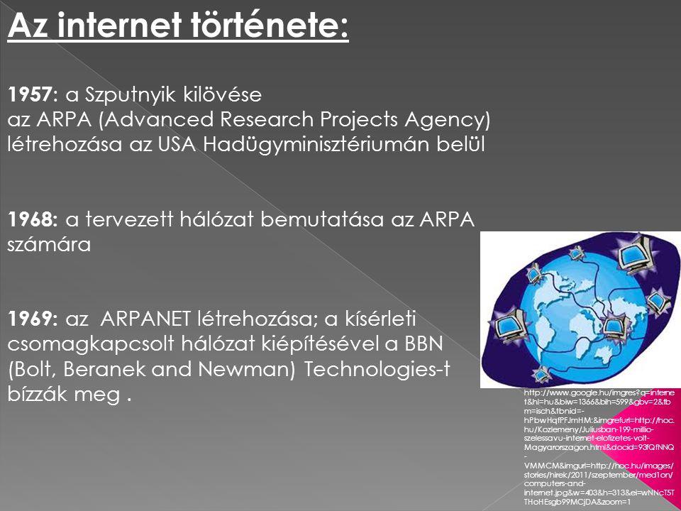 1982: összekapcsolódás a MILNET-tel (Military Network; amerikai katonai hálózat) további hálózatok kapcsolódása: - MINET (a MILnet európai megfelelõje) - NFSNET (National Science Foundation Network) - BITNET (Because It s Time Network; egyetemek közötti kommunikációt biztosító hálózat, eredetileg IBM nagyszámítógépeket kötött össze) 1971: oktatási és kutatási intézmények kapcsolódása 15 csomópont (23 számítógép) 1973: az első nemzetközi kapcsolat az ARPANET-hez (Anglia és Norvégia) http://www.google.hu/imgres.