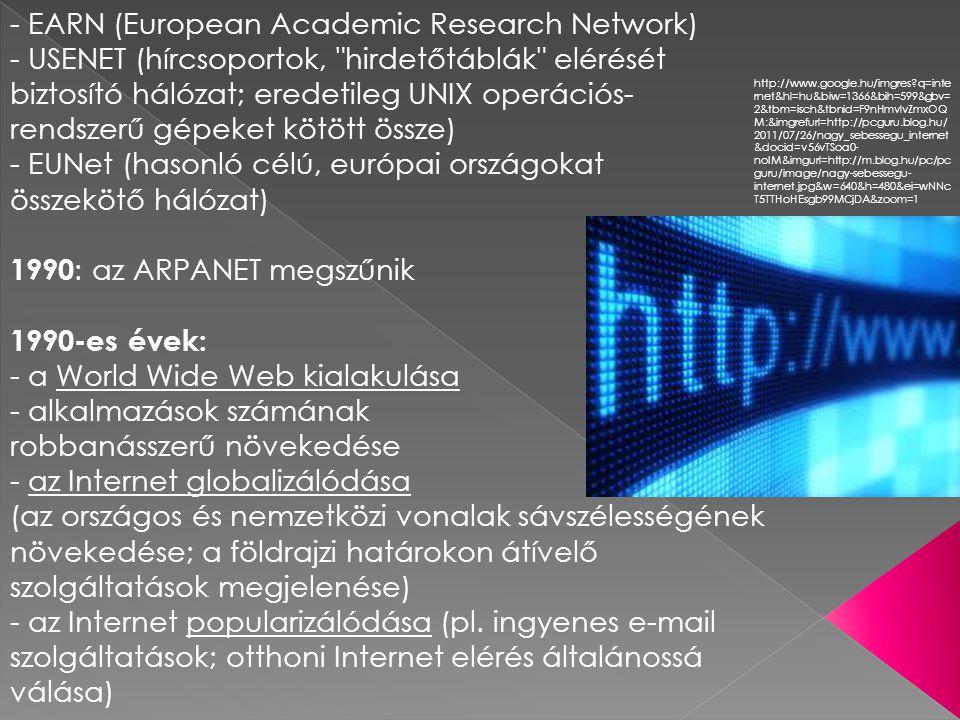 az Internet jövője: - belső intézményi információs rendszerek elterjedése (intranet) lehetséges jövőbeli fejlődési irányok : - különböző iparágak összefonódása ● számítógépes/információs ● táv- és hírközlés ● szórakoztatás - az Internet használata egységes multimédiás kommunikációs közegként Próbálkozások az Internet megregulázására : (pl.