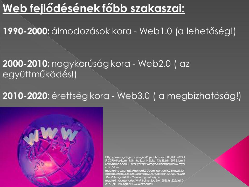 http://www.google.hu/imgres?q=web+1.0&um=1&hl=hu&sa=N&bi w=1366&bih=599&tbm=isch&tbnid=d67INlHTkEV_DM:&imgrefurl=htt p://mcash.wikispaces.com/Web%2B1.0%2BGraphic&docid=XfcId0 sswt3dcM&imgurl=http://mcash.wikispaces.com/file/view/Web_1.0 _elements.png/33707025/Web_1.0_elements.png&w=703&h=568& ei=8edcT7fACITWtAbq4L2ADA&zoom=1 AWeb 1.0: - Hipertextekre épülő - statikus - egyirányú - kevés tartalomszerkesztő - korlátozott tartalom