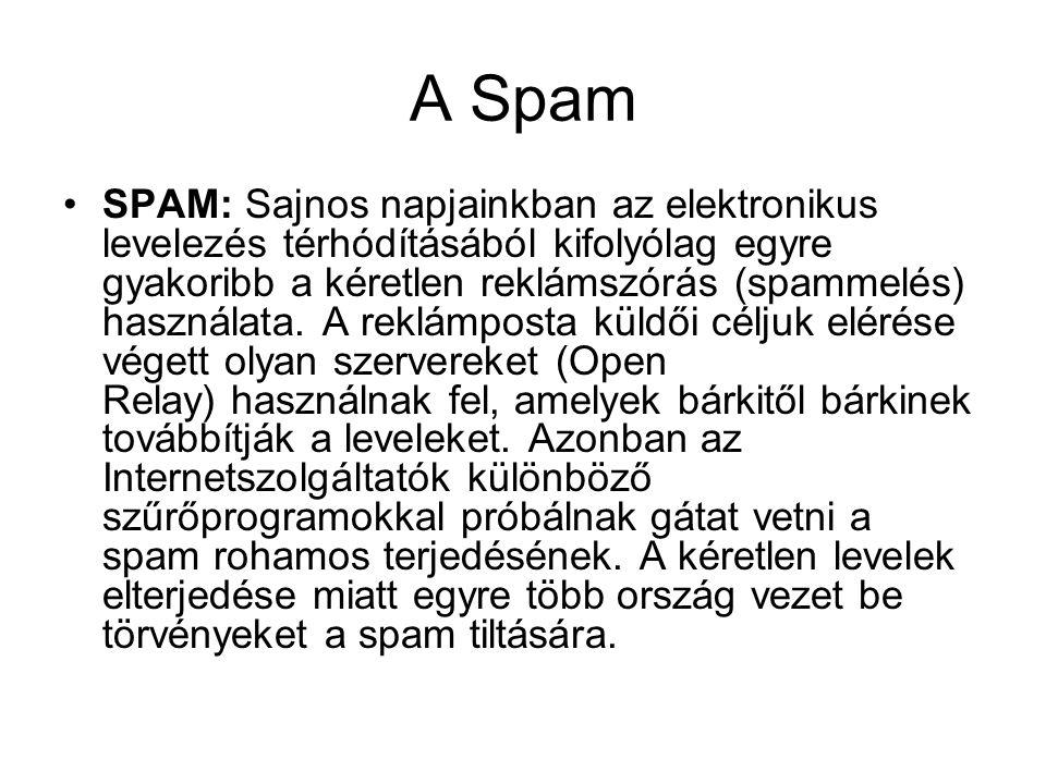A Spam SPAM: Sajnos napjainkban az elektronikus levelezés térhódításából kifolyólag egyre gyakoribb a kéretlen reklámszórás (spammelés) használata.