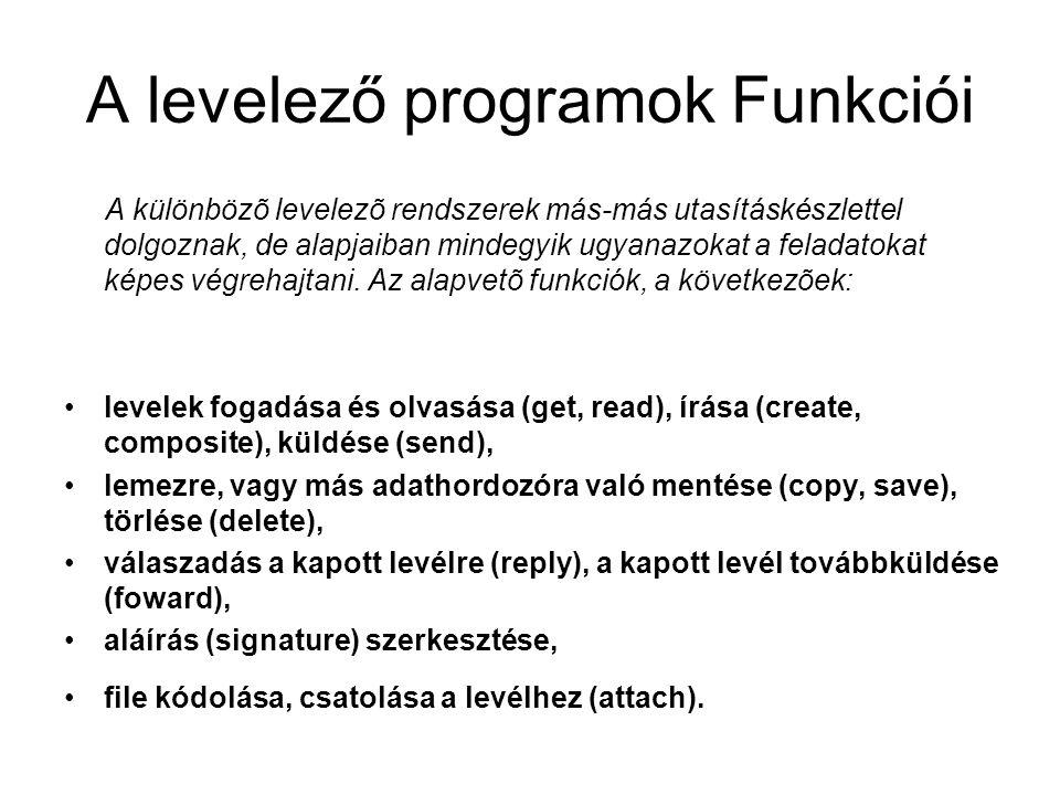 A levelező programok Funkciói A különbözõ levelezõ rendszerek más-más utasításkészlettel dolgoznak, de alapjaiban mindegyik ugyanazokat a feladatokat képes végrehajtani.
