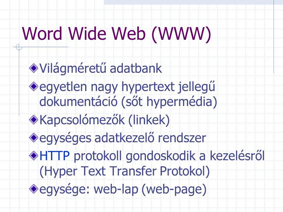 Word Wide Web (WWW) Világméretű adatbank egyetlen nagy hypertext jellegű dokumentáció (sőt hypermédia) Kapcsolómezők (linkek) egységes adatkezelő rend