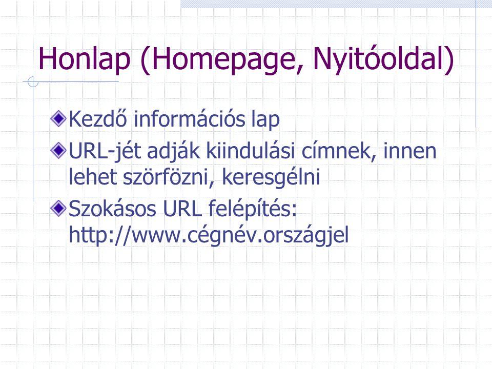 Honlap (Homepage, Nyitóoldal) Kezdő információs lap URL-jét adják kiindulási címnek, innen lehet szörfözni, keresgélni Szokásos URL felépítés: http://www.cégnév.országjel