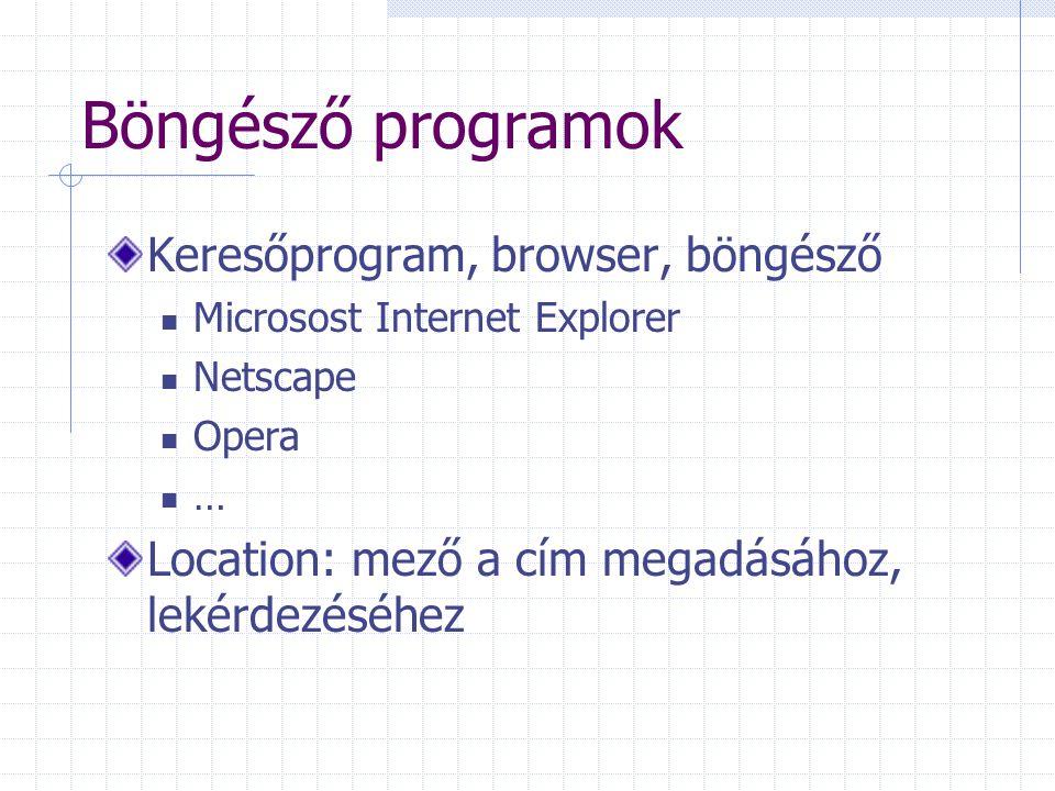 Böngésző programok Keresőprogram, browser, böngésző Microsost Internet Explorer Netscape Opera … Location: mező a cím megadásához, lekérdezéséhez