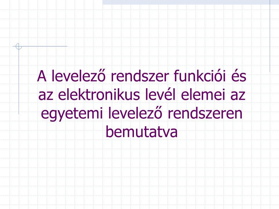 A levelező rendszer funkciói és az elektronikus levél elemei az egyetemi levelező rendszeren bemutatva