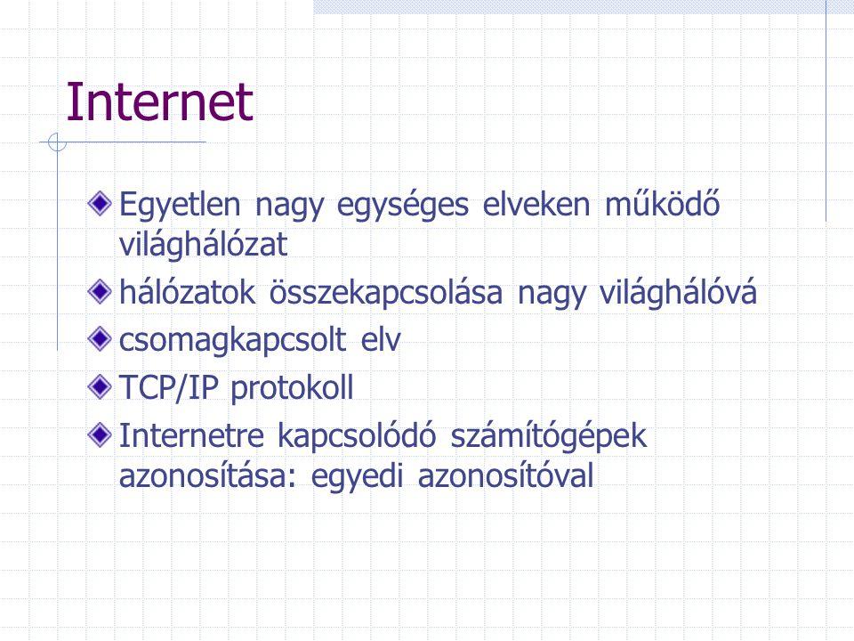 Egyetlen nagy egységes elveken működő világhálózat hálózatok összekapcsolása nagy világhálóvá csomagkapcsolt elv TCP/IP protokoll Internetre kapcsolódó számítógépek azonosítása: egyedi azonosítóval