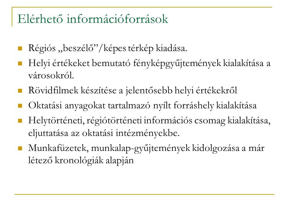 """Elérhető információforrások Régiós """"beszélő /képes térkép kiadása."""
