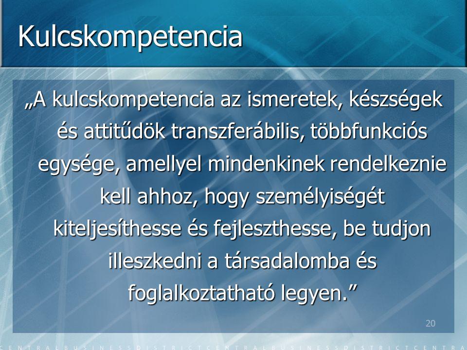 """20 Kulcskompetencia """"A kulcskompetencia az ismeretek, készségek és attitűdök transzferábilis, többfunkciós egysége, amellyel mindenkinek rendelkeznie kell ahhoz, hogy személyiségét kiteljesíthesse és fejleszthesse, be tudjon illeszkedni a társadalomba és foglalkoztatható legyen."""