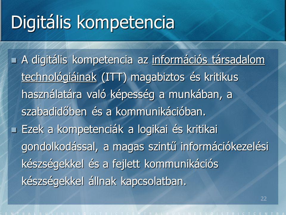 22 Digitális kompetencia A digitális kompetencia az információs társadalom technológiáinak (ITT) magabiztos és kritikus használatára való képesség a munkában, a szabadidőben és a kommunikációban.