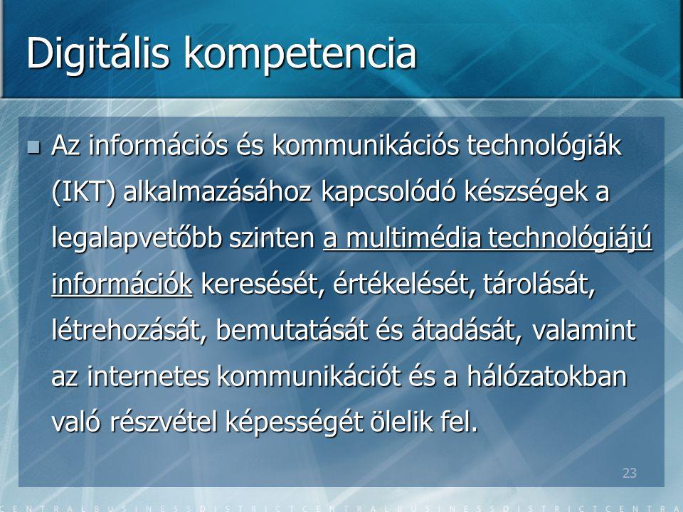 23 Digitális kompetencia Az információs és kommunikációs technológiák (IKT) alkalmazásához kapcsolódó készségek a legalapvetőbb szinten a multimédia technológiájú információk keresését, értékelését, tárolását, létrehozását, bemutatását és átadását, valamint az internetes kommunikációt és a hálózatokban való részvétel képességét ölelik fel.