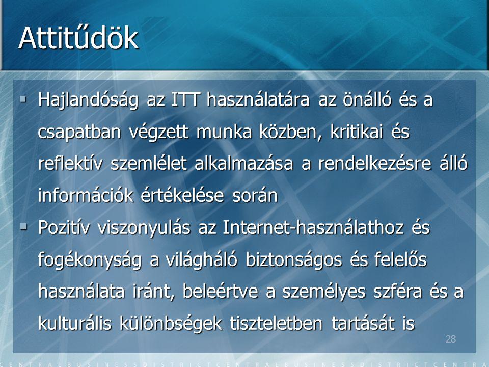 28 Attitűdök  Hajlandóság az ITT használatára az önálló és a csapatban végzett munka közben, kritikai és reflektív szemlélet alkalmazása a rendelkezésre álló információk értékelése során  Pozitív viszonyulás az Internet-használathoz és fogékonyság a világháló biztonságos és felelős használata iránt, beleértve a személyes szféra és a kulturális különbségek tiszteletben tartását is
