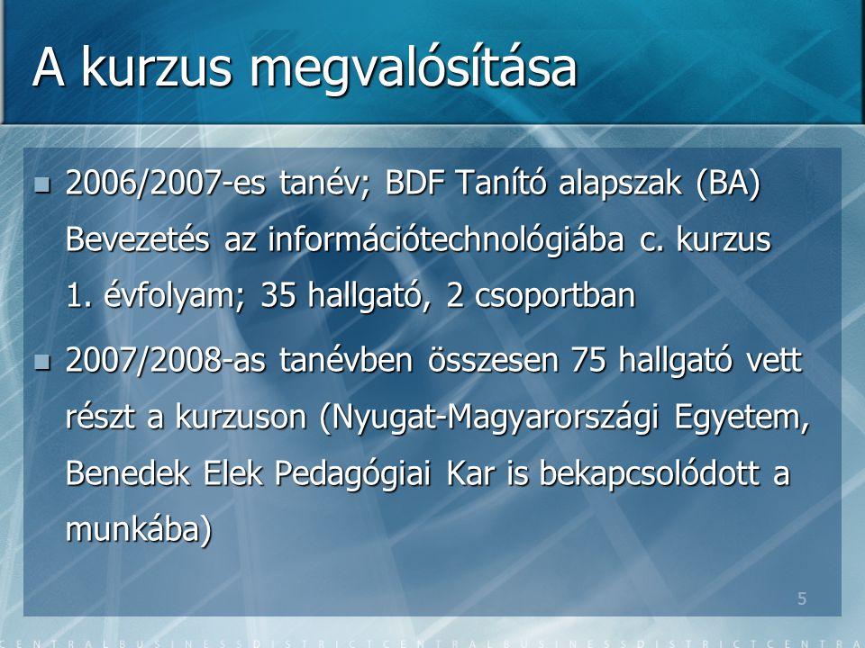 5 A kurzus megvalósítása 2006/2007-es tanév; BDF Tanító alapszak (BA) Bevezetés az információtechnológiába c.