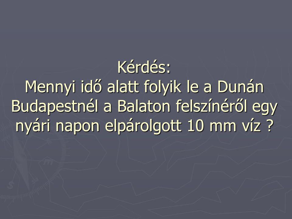 Kérdés: Mennyi idő alatt folyik le a Dunán Budapestnél a Balaton felszínéről egy nyári napon elpárolgott 10 mm víz ?