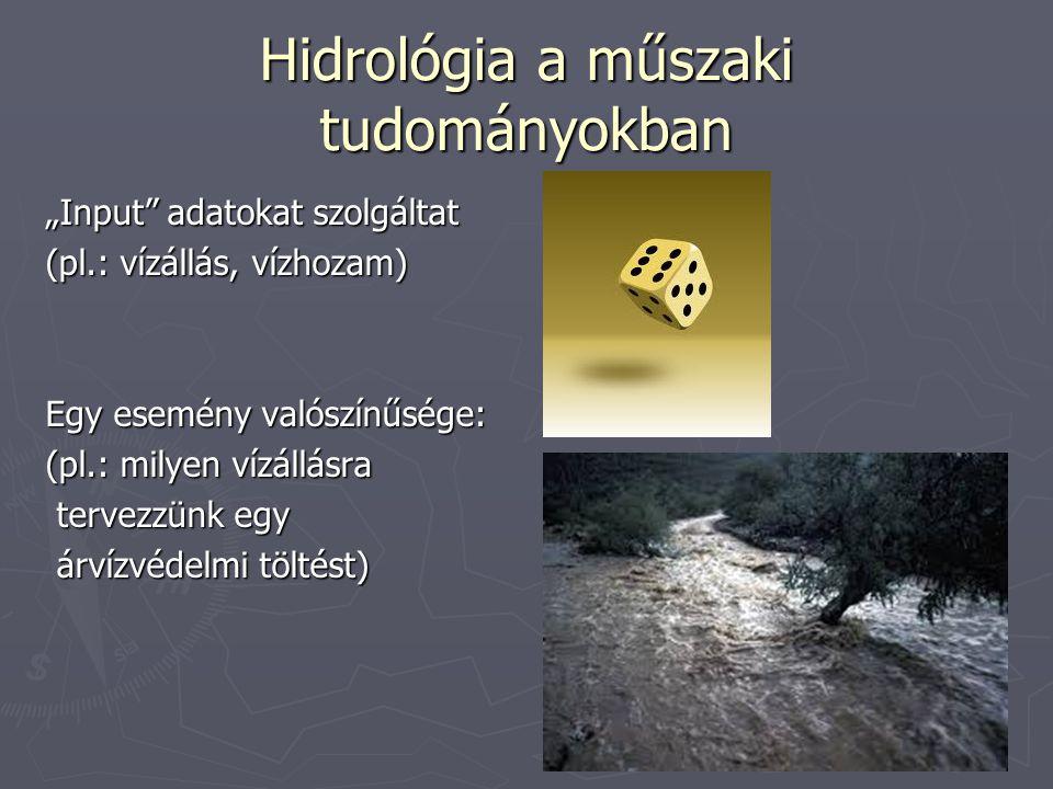 """Hidrológia a műszaki tudományokban """"Input"""" adatokat szolgáltat (pl.: vízállás, vízhozam) Egy esemény valószínűsége: (pl.: milyen vízállásra tervezzünk"""