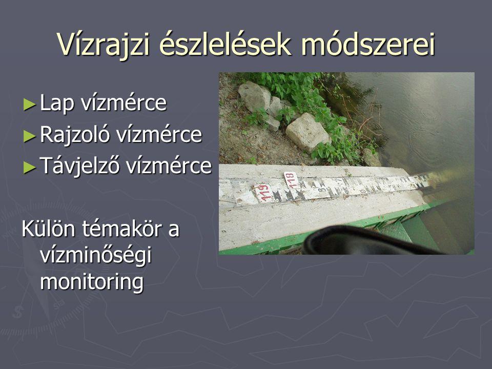 Jellemző vízállások LKV: legkisebb víz (legalacsonyabb jégmentes, mellette dátum) KV: kisvíz (időszakon belül) KKV: közepes kisvíz (évi kisvizek számtani közepe) KÖV: középvíz (számtani közép) NV: nagyvíz (időszakon belül) KNV: közepes nagyvíz (számtani közép) LNV: legnagyobb víz ÁTV: átlagos víz (ugyanannyiszor több, mint ahányszor kevesebb)