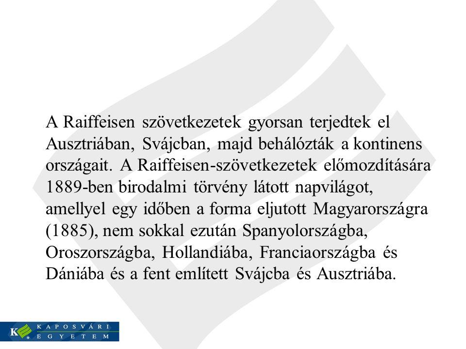 A Raiffeisen szövetkezetek gyorsan terjedtek el Ausztriában, Svájcban, majd behálózták a kontinens országait.