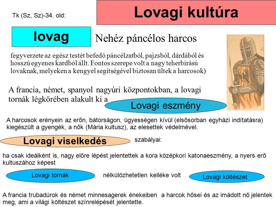 Lovagi eszmény Lovagi viselkedés Lovagi kultúra lovag Nehéz páncélos harcos fegyverzete az egész testét befedő páncélzatból, pajzsból, dárdából és hos