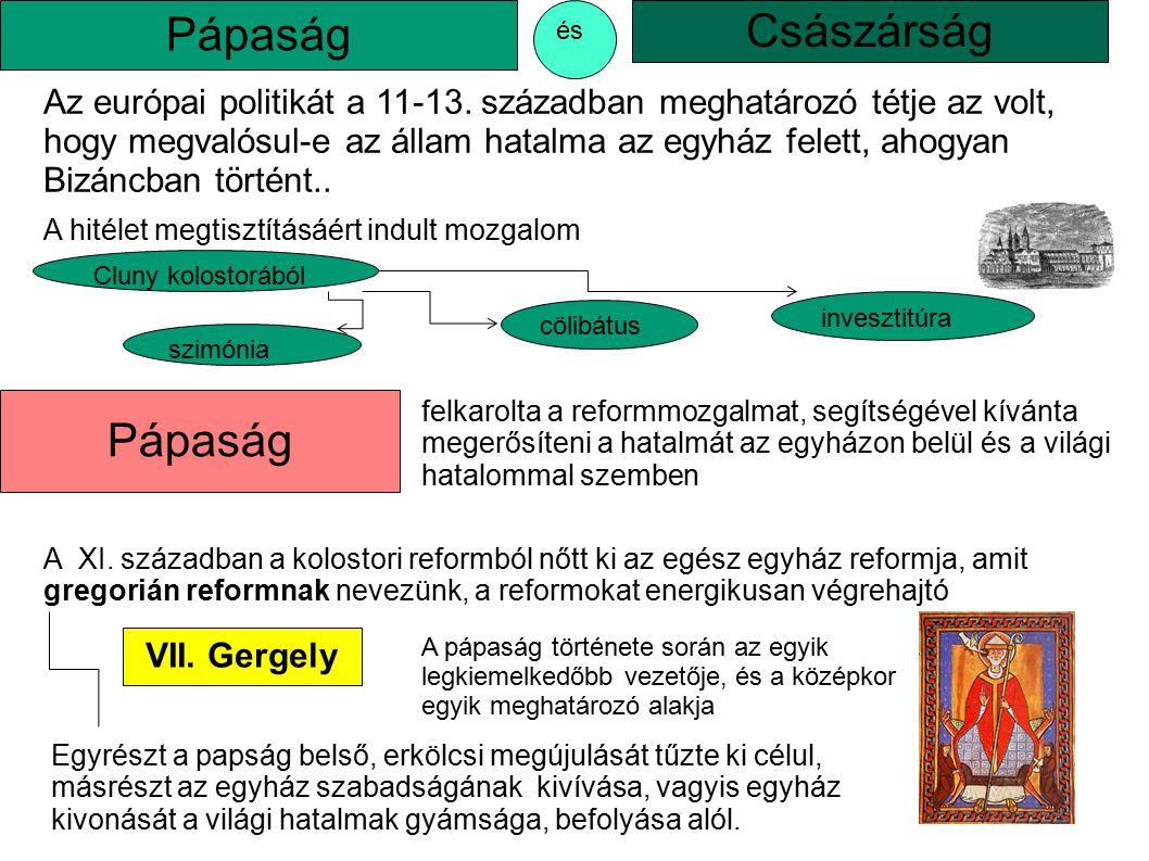 VII. Gergely A pápaság története során az egyik legkiemelkedőbb vezetője, és a középkor egyik meghatározó alakja A XI. században a kolostori reformból