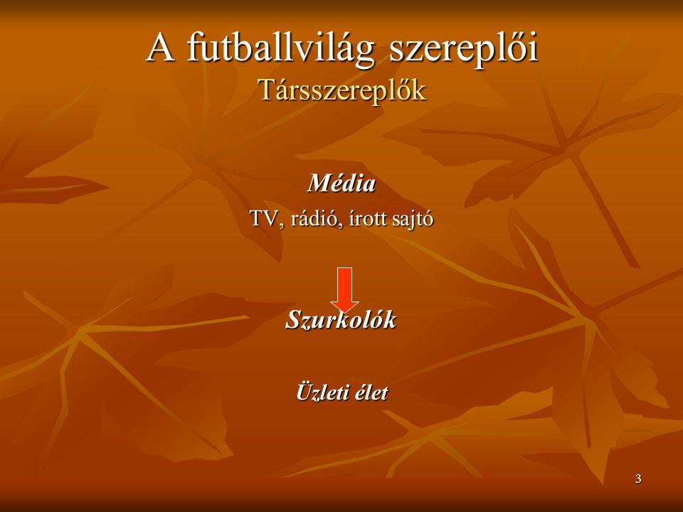 3 A futballvilág szereplői Társszereplők Média TV, rádió, írott sajtó Szurkolók Üzleti élet
