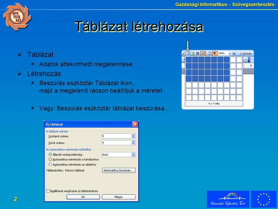 2 Táblázat létrehozása  Táblázat  Adatok áttekinthető megjelenítése  Létrehozás  Beszúrás eszköztár Táblázat ikon, majd a megjelenő rácson beállít
