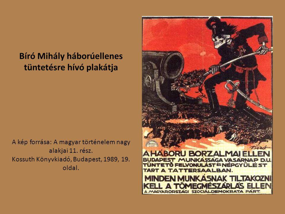 Bíró Mihály háborúellenes tüntetésre hívó plakátja A kép forrása: A magyar történelem nagy alakjai 11.