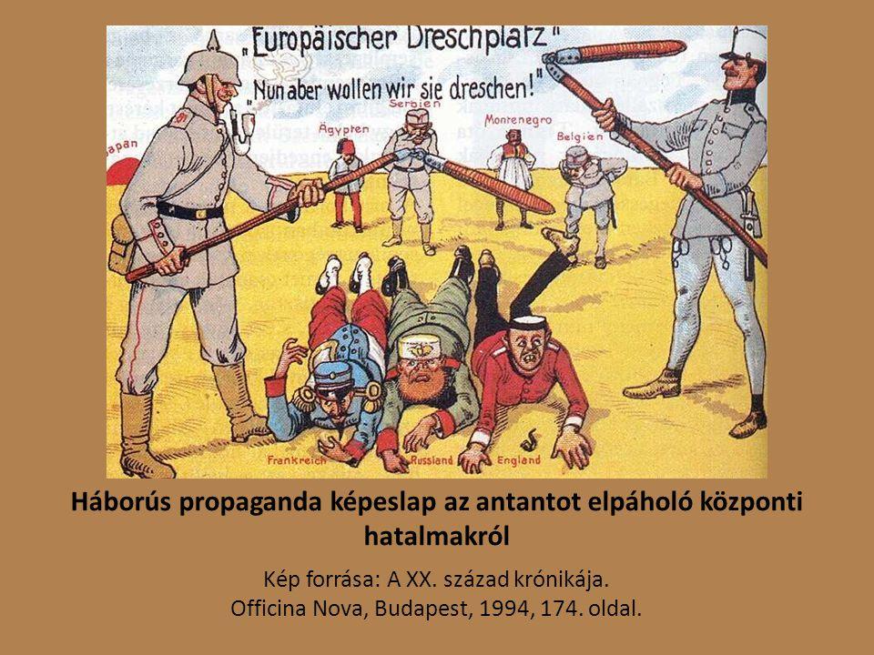Háborús propaganda képeslap az antantot elpáholó központi hatalmakról Kép forrása: A XX.