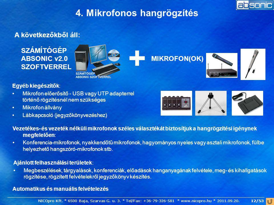 4. Mikrofonos hangrögzítés SZÁMÍTÓGÉP ABSONIC v2.0 SZOFTVERREL A következőkből áll: MIKROFON(OK) + Egyéb kiegészítők: Mikrofon előerősítő - USB vagy U