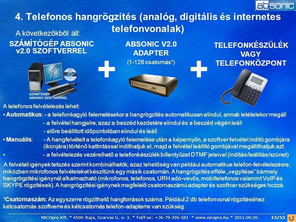 4. Telefonos hangrögzítés (analóg, digitális és internetes telefonvonalak) SZÁMÍTÓGÉP ABSONIC v2.0 SZOFTVERREL A következőkből áll: ABSONIC V2.0 ADAPT
