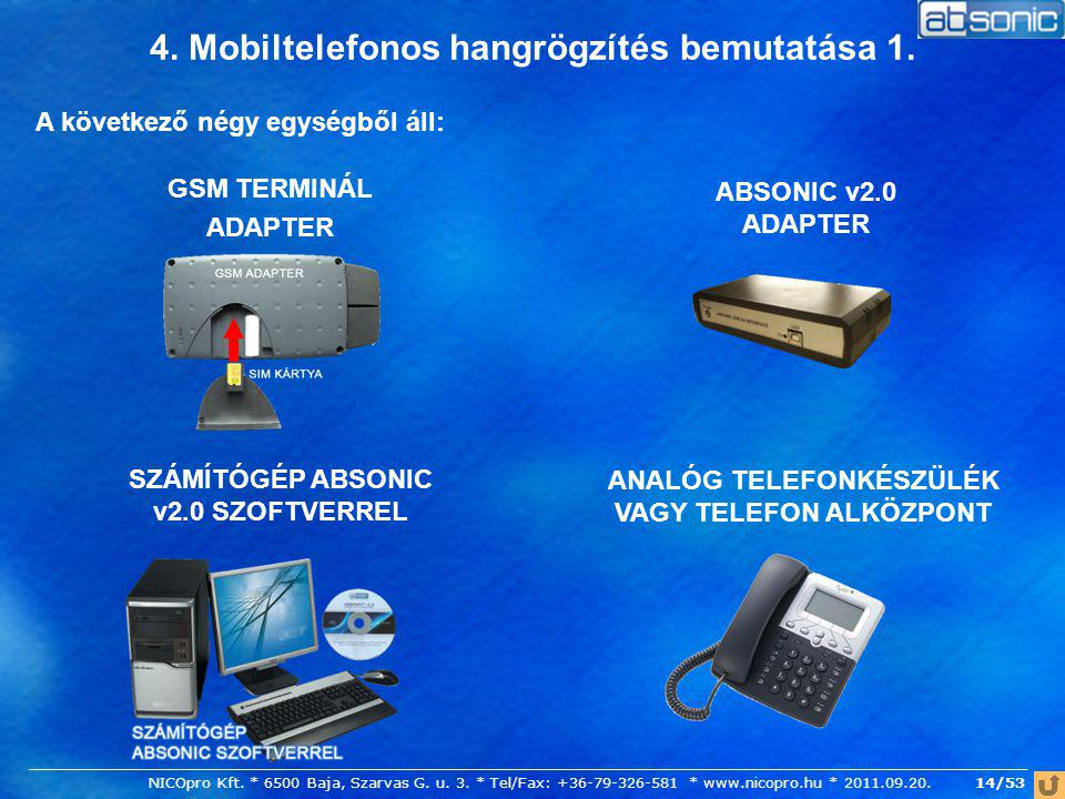 4. Mobiltelefonos hangrögzítés bemutatása 1. A következő négy egységből áll: SZÁMÍTÓGÉP ABSONIC v2.0 SZOFTVERREL GSM TERMINÁL ADAPTER ANALÓG TELEFONKÉ