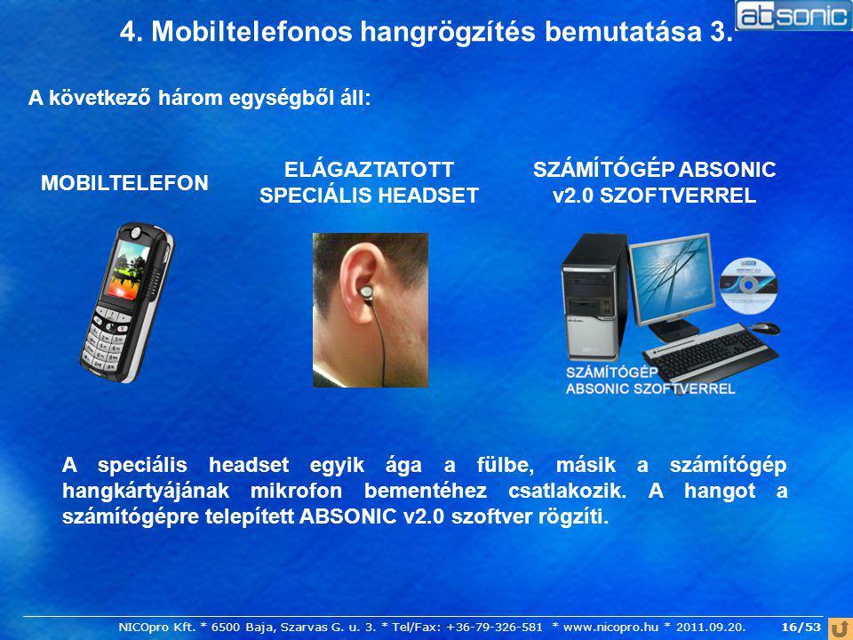 4. Mobiltelefonos hangrögzítés bemutatása 3. A következő három egységből áll: SZÁMÍTÓGÉP ABSONIC v2.0 SZOFTVERREL ELÁGAZTATOTT SPECIÁLIS HEADSET MOBIL