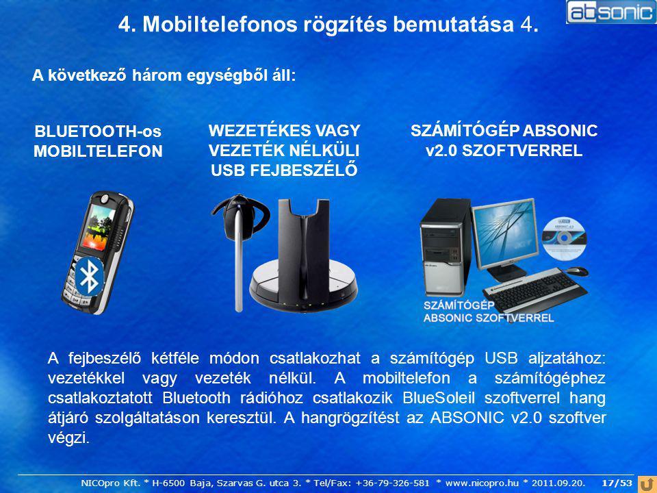 17/53 4. Mobiltelefonos rögzítés bemutatása 4. A következő három egységből áll: SZÁMÍTÓGÉP ABSONIC v2.0 SZOFTVERREL WEZETÉKES VAGY VEZETÉK NÉLKÜLI USB