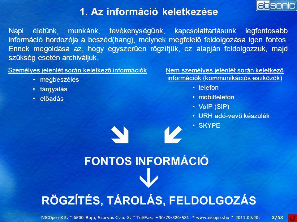 3/53 1. Az információ keletkezése Személyes jelenlét során keletkező információk megbeszélés tárgyalás előadás Nem személyes jelenlét során keletkező