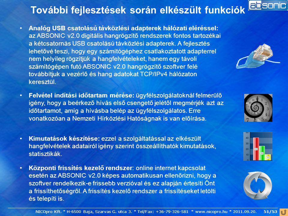 51/53 További fejlesztések során elkészült funkciók Központi frissítés kezelő rendszer: online internet kapcsolat esetén az ABSONIC v2.0 képes automat