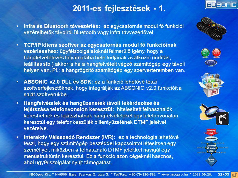 52/53 2011-es fejlesztések - 1. Hangfelvételek és hangüzenetek távoli lekérdezése és lejátszása telefonvonalon keresztül: hitelesített felhasználók ke