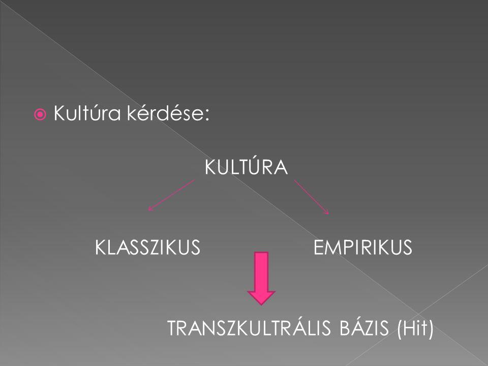  Kultúra kérdése: KULTÚRA KLASSZIKUS EMPIRIKUS TRANSZKULTRÁLIS BÁZIS (Hit)