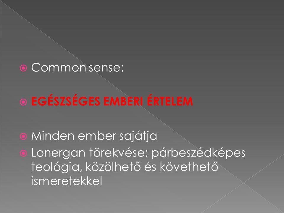  Common sense:  EGÉSZSÉGES EMBERI ÉRTELEM  Minden ember sajátja  Lonergan törekvése: párbeszédképes teológia, közölhető és követhető ismeretekkel