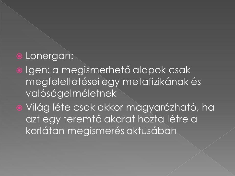  Lonergan:  Igen: a megismerhető alapok csak megfeleltetései egy metafizikának és valóságelméletnek  Világ léte csak akkor magyarázható, ha azt egy teremtő akarat hozta létre a korlátan megismerés aktusában