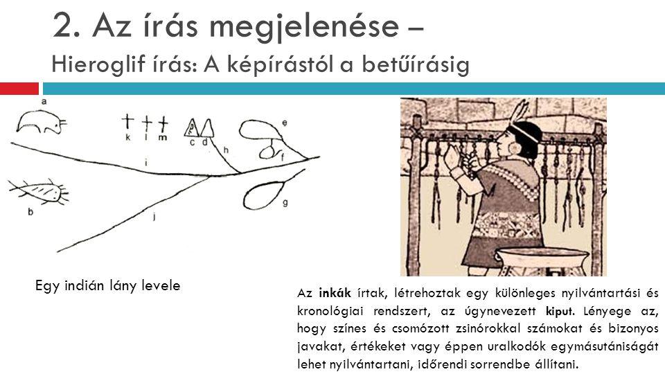2. Az írás megjelenése – Hieroglif írás: A képírástól a betűírásig Az inkák írtak, létrehoztak egy különleges nyilvántartási és kronológiai rendszert,