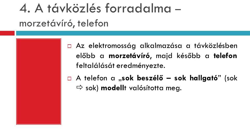 4. A távközlés forradalma – morzetávíró, telefon  Az elektromosság alkalmazása a távközlésben előbb a morzetávíró, majd később a telefon feltalálását