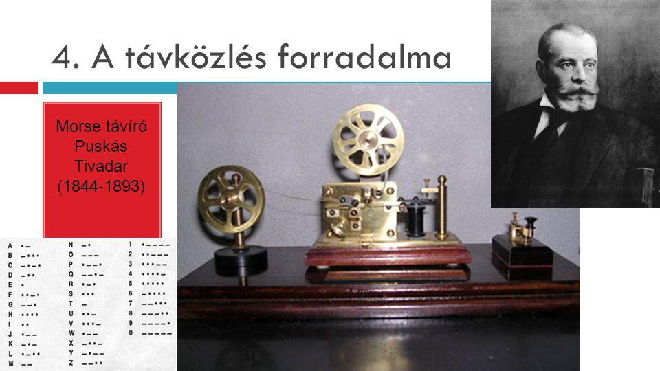 4. A távközlés forradalma Morse távíró Puskás Tivadar (1844-1893)