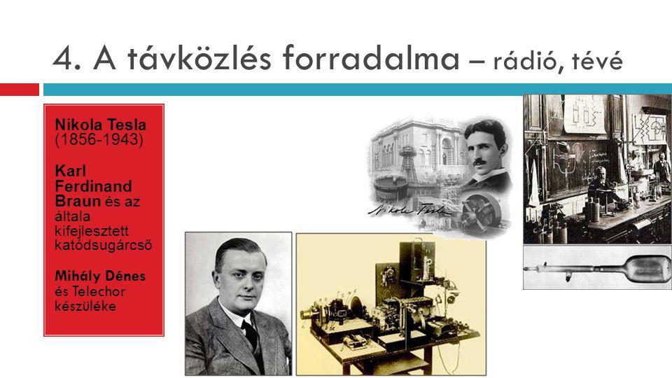 4. A távközlés forradalma – rádió, tévé Nikola Tesla (1856-1943) Karl Ferdinand Braun és az általa kifejlesztett katódsugárcső Mihály Dénes és Telecho