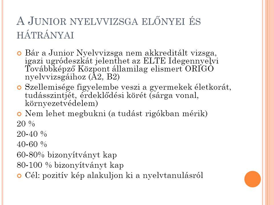 A J UNIOR NYELVVIZSGA ELŐNYEI ÉS HÁTRÁNYAI Bár a Junior Nyelvvizsga nem akkreditált vizsga, igazi ugródeszkát jelenthet az ELTE Idegennyelvi Továbbkép