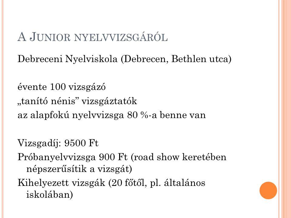 """A J UNIOR NYELVVIZSGÁRÓL Debreceni Nyelviskola (Debrecen, Bethlen utca) évente 100 vizsgázó """"tanító nénis"""" vizsgáztatók az alapfokú nyelvvizsga 80 %-a"""