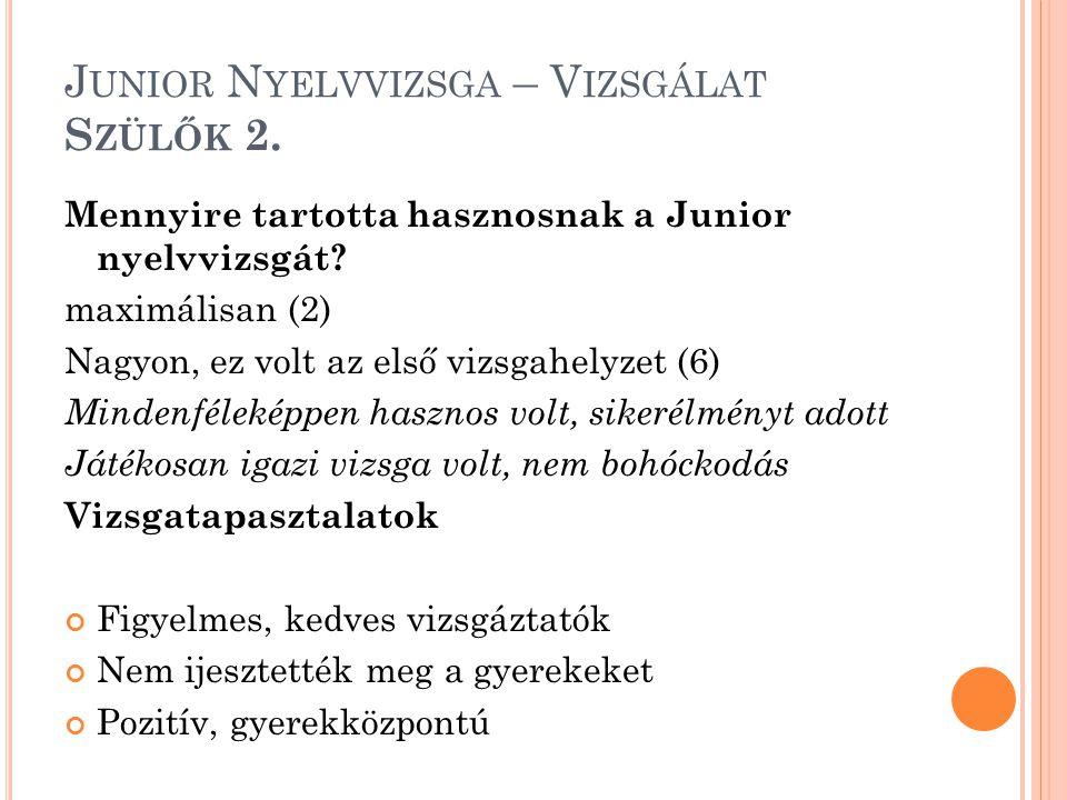 J UNIOR N YELVVIZSGA – V IZSGÁLAT S ZÜLŐK 2. Mennyire tartotta hasznosnak a Junior nyelvvizsgát? maximálisan (2) Nagyon, ez volt az első vizsgahelyzet