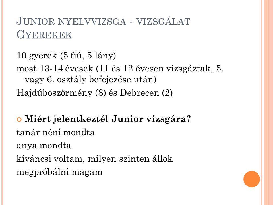 J UNIOR NYELVVIZSGA - VIZSGÁLAT G YEREKEK 10 gyerek (5 fiú, 5 lány) most 13-14 évesek (11 és 12 évesen vizsgáztak, 5. vagy 6. osztály befejezése után)