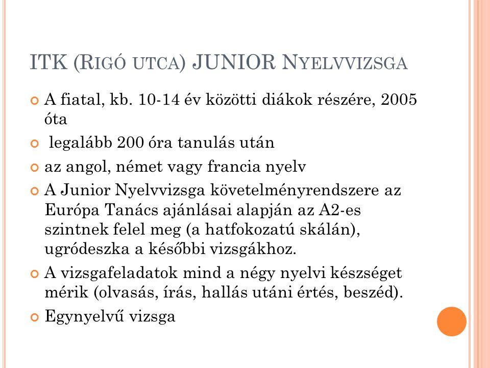 ITK (R IGÓ UTCA ) JUNIOR N YELVVIZSGA A fiatal, kb. 10-14 év közötti diákok részére, 2005 óta legalább 200 óra tanulás után az angol, német vagy franc