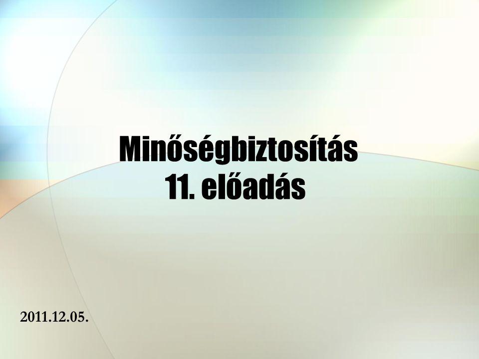 Minőségbiztosítás 11. előadás 2011.12.05.